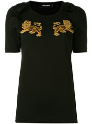 Dsquared2 Lion Motif T Shirt Women Cotton Polyester Viscose S Black