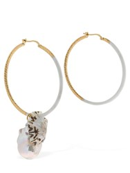 Missoni Enameled Pearl And Shell Hoops White
