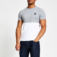 Superdry River Island Grey Colour Blocked T Shirt