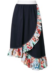 I'm Isola Marras Ruffled Trim Asymmetric Skirt Blue