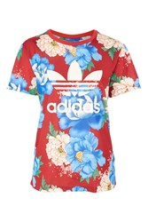 Adidas Floral Print Trefoil T Shirt By Originals Red