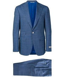 Canali Check Two Piece Formal Suit Blue