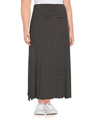 Lord And Taylor Plus Striped Maxi Skirt Black