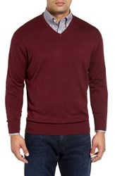 Peter Millar Men's Silk Blend V Neck Sweater Pomegranate