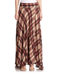 Haute Hippie Silk Chevron Plaid Maxi Skirt Tribal Chevron Plaid