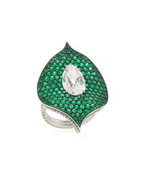Bayco Platinum Emerald And Diamond Ring