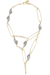 Lulu Frost Kinship Gold And Silver Plated Crystal And Faux Pearl Necklace