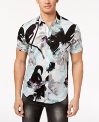 Inc International Concepts Men's Floral Short Sleeve Button Down Shirt Created For Macy's White