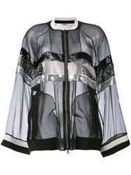Aviu Sheer Sequin Stripe Bomber Jacket Women Silk Polyester Viscose 46 Black