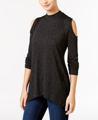 Styleandco. Style Co. Metallic Cold Shoulder Top Only At Macy's Deep Black