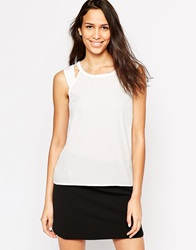 Vero Moda Sleeveless Top With Cut Out Detail Snowwhite