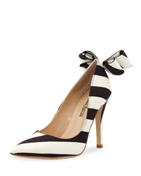 Neiman Marcus Verity Striped Bow Pump Black