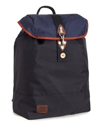 Faguo Navy And Camel Nylon Hook Backpack Blue