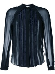 3.1 Phillip Lim Frayed Trim Sheer Shirt Blue