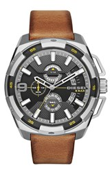 Men's Diesel 'Heavyweight' Leather Strap Watch 50Mm