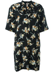 Marni Abstract Print Dress Women Silk 44 Black