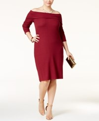 Ing Trendy Plus Size Off The Shoulder Sweater Dress Only At Macy's Oxblood