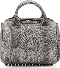 Alexander Wang White And Black Spotted Leather Rockie Duffle Bag