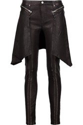 Rta Cobain Shirt Effect Leather Skinny Pants Black