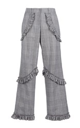 Simone Rocha Prince Of Wales Check Frill Trousers Grey Yellow White