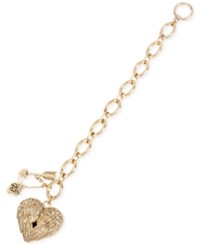 Betsey Johnson Gold Tone Crystal Heart Wing And Arrow Toggle Bracelet