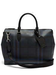 Burberry London Check Leather Tote Black Navy