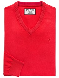 Thomas Pink Horseley V Neck Jumper Red