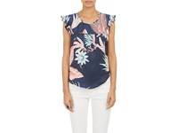 Banjanan Women's Ruffle Sleeve Tropical Floral Top Navy