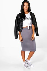 Boohoo Jersey Bodycon Midi Skirt Smoke
