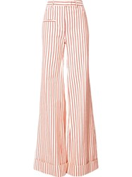 Rosie Assoulin Striped Wide Leg Pants Red