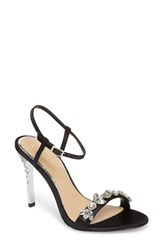Jewel Badgley Mischka Women's Tex Ankle Strap Sandal Black Satin