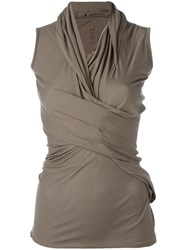 Rick Owens Lilies Draped Fitted Top Grey