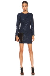 Msgm Vegan Leather Dress In Blue