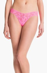Hanky Panky Women's 'Signature Lace' Low Rise Thong Glo Pink