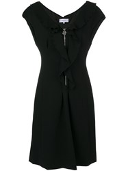 Carven Ruffle Zip Dress Polyamide Spandex Elastane Viscose Black