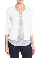 Halogen Women's Three Quarter Sleeve Cardigan White