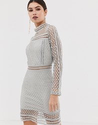 Girl In Mind Long Sleeve Lace Mini Dress Grey