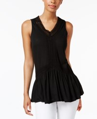 Cable And Gauge Lace Trim Peplum Top Black