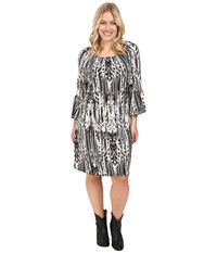 Roper Plus Size 0431 Feather Ikat Printed Jersey Dress Black Women's Dress
