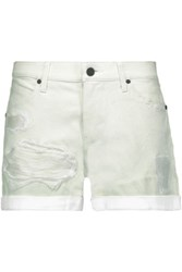 Rta Olivia Distressed Leather Shorts White