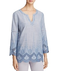 Nydj Embroidered Crochet Trim Tunic Loire Valley