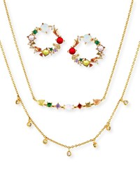 Tai Cubic Zirconia Rainbow Earrings And Necklace Set Multi
