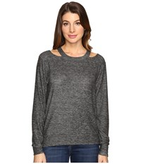 Lna Bolero Cut Out Sweater Melange Grey Women's Sweater Blue