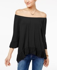 One Hart Juniors' Ruffled Off The Shoulder Top Only At Macy's Black