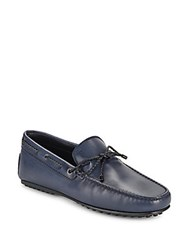 Tod's Leather Tie Moccasins Blue