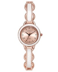 Charter Club Women's Rose Gold Tone White Inset Bangle Bracelet Watch 28Mm 17295 Only At Macy's
