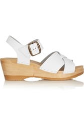 No.6 Store Criss Cross Textured Leather Wedge Sandals