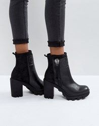 Calvin Klein Jeans Jackie Black Leather Heeled Boots