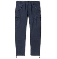 Polo Ralph Lauren Navy Tapered Washed Cotton Cargo Trousers Blue