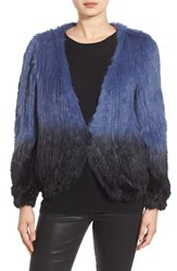 La Fiorentina Women's Genuine Rabbit Fur Ombre Jacket Blue Ombre